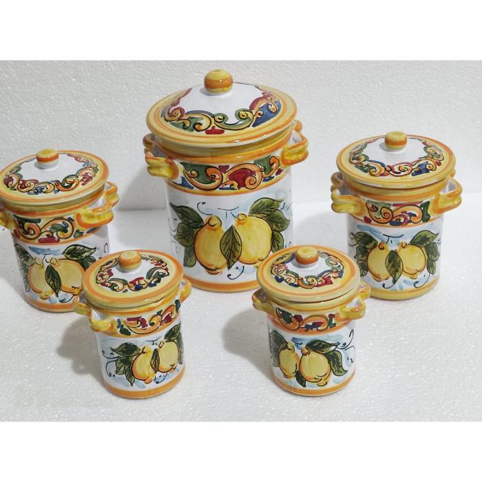 set 5 barattoli in ceramica